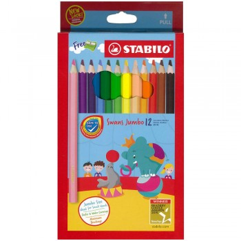 Stabilo Swans Jumbo 12 Colored Pencils Art No 1877J