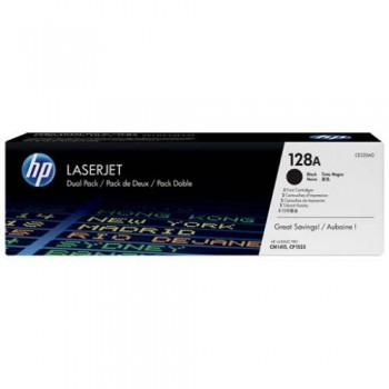 HP 128AD Black Dual Pack LaserJet Toner Cartridges (CE320AD)