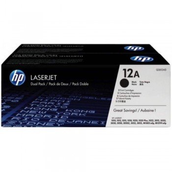 HP 12AD Black Dual Pack LaserJet Toner Cartridges (Q2612AD)