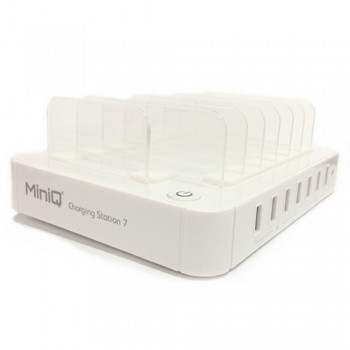 MiniQ Charging Station 7 Usb Power Charger, white