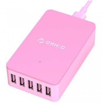 Orico CSE-5U 5 port Smart Desktop Charger, Total 8A (Pink)