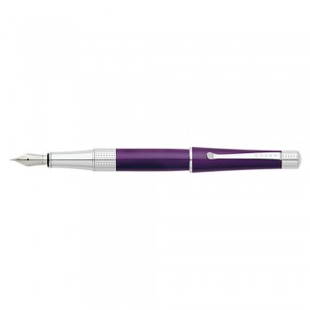 Cross Beverly Deep Purple Lacquer Fountain Pen - Medium With Polished Chrome appointments