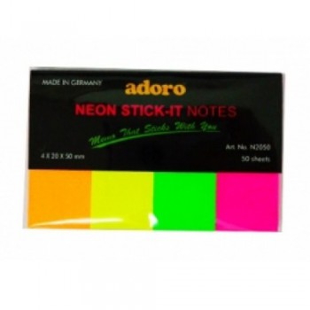 Adoro Neon Stick-It Notes 4 x 20 x 50mm (N2050)