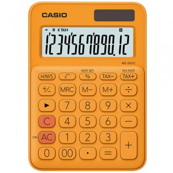 Casio Colourful Calculator - 12 Digits, Solar & Battery, Tax & Time Calculation, Orange (MS-20UC-OR)