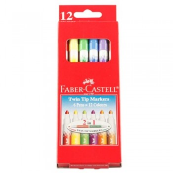 Faber Castell Twin Tip Markers - 12 Colours (Item No B05-11 ) A1R2B139