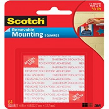 "3M 108 Scotch Removable Mounting Square 1""x 1"""