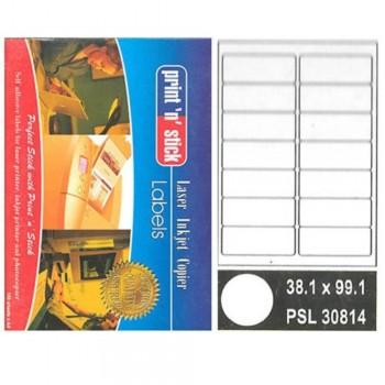 Print n Stick A4 Laser Inkjet Label Stickers 14pcs - 38.1mm x 99.1mm, 100sheets (Item No: R01-12) A1R3B193