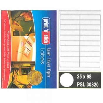 Print n Stick A4 Laser Inkjet Label Stickers 20pcs - 25mm x 98mm, 100sheets (Item No: R01-14) A1R3B197